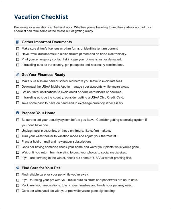 Vacation Checklist Template   Free Pdf Documents Downlaod