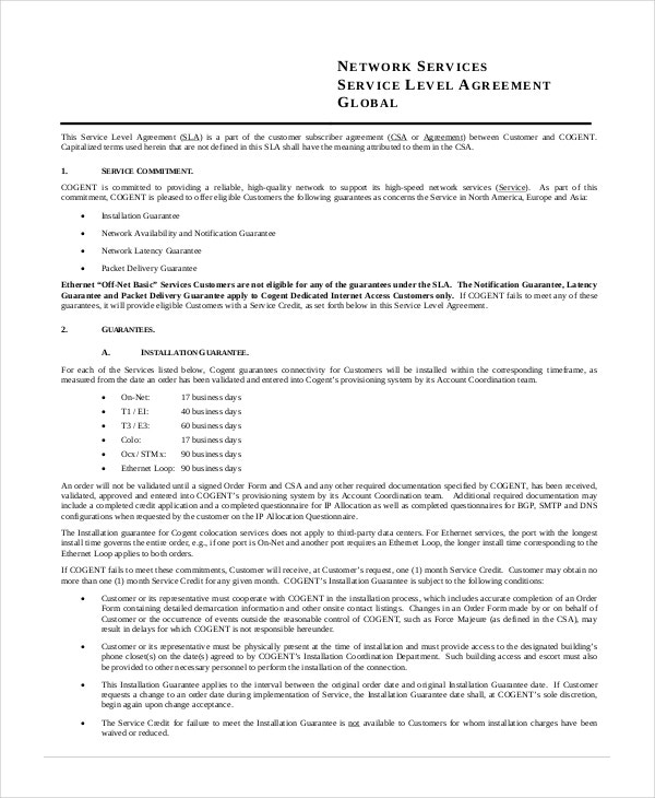 Network Service Level Agreement