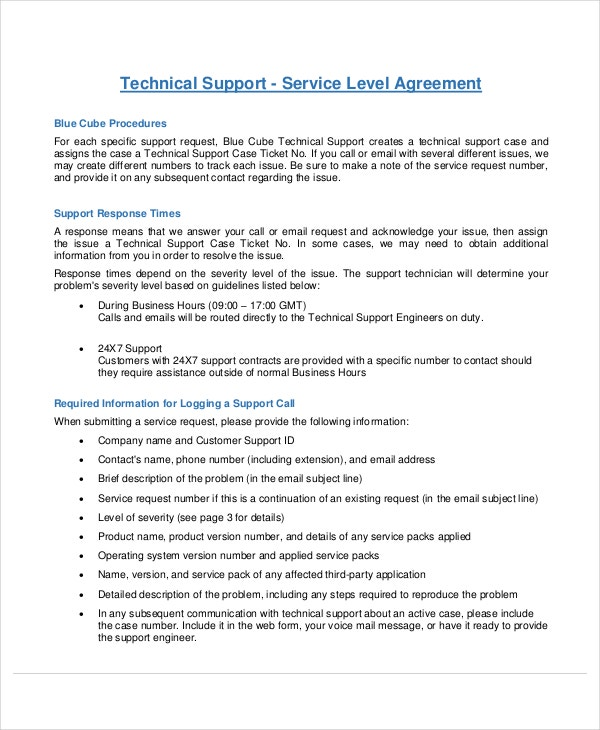 Service level agreement 18 free pdf word psd for Technical support agreement template