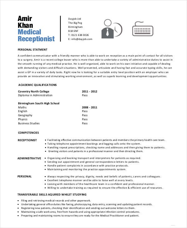 Medical Receptionist Resume In PDF  Receptionist Resume