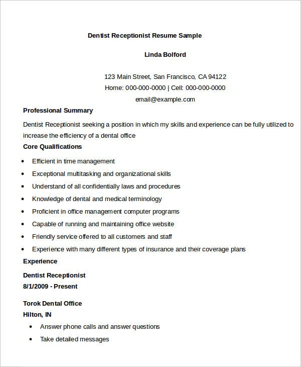 dentist receptionist resume sample - Receptionist Resumes Samples