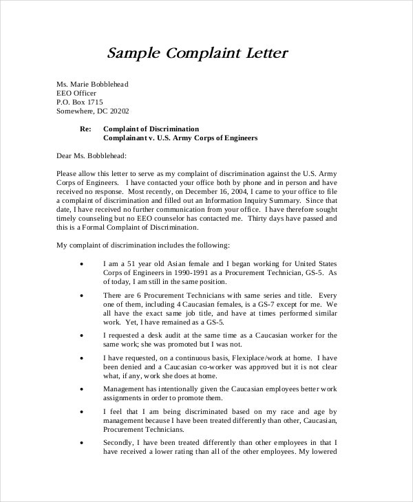 sample-discrimination-complaint-letter