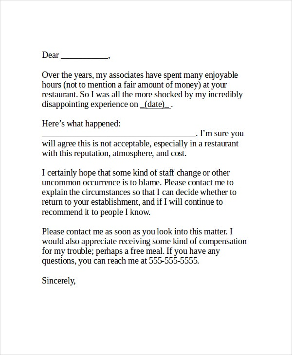 sample-restaurant-complaint-letter