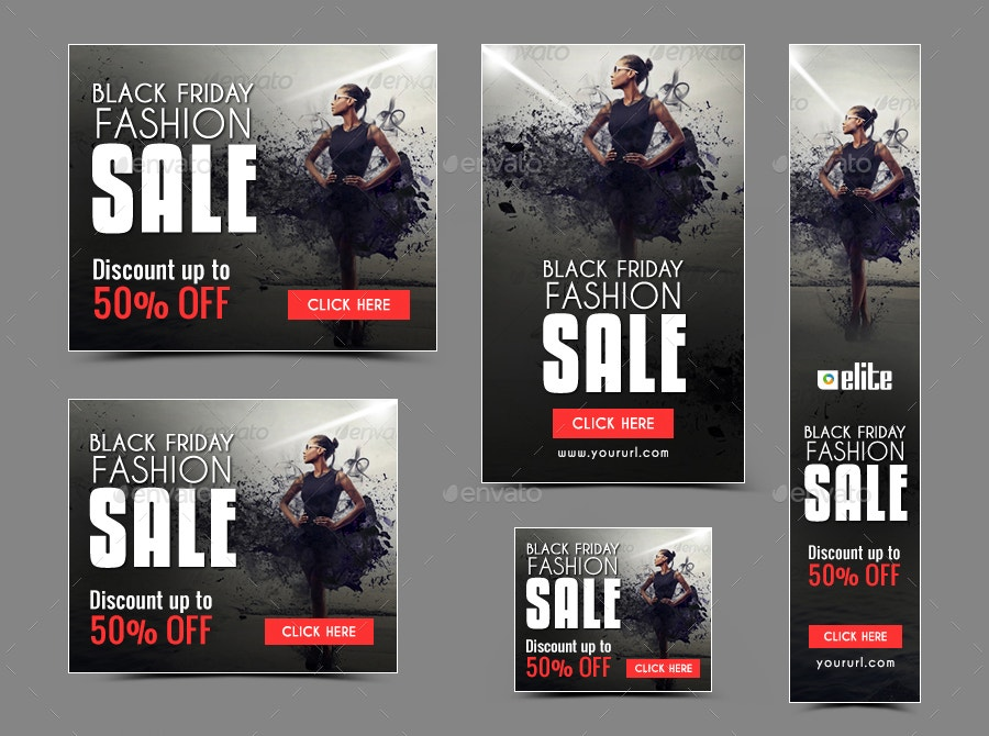 flat design black friday fashion banner
