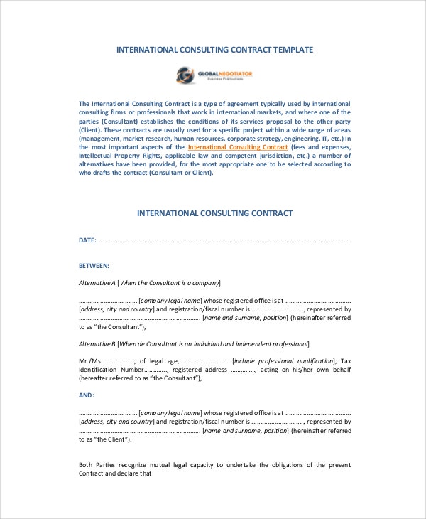 Contract template 13 free pdf word documents download for Consultant contract template free download