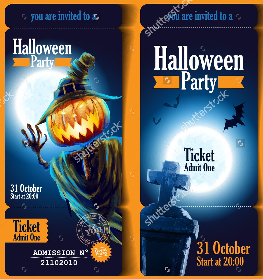 Halloween Party Ticket Mockup