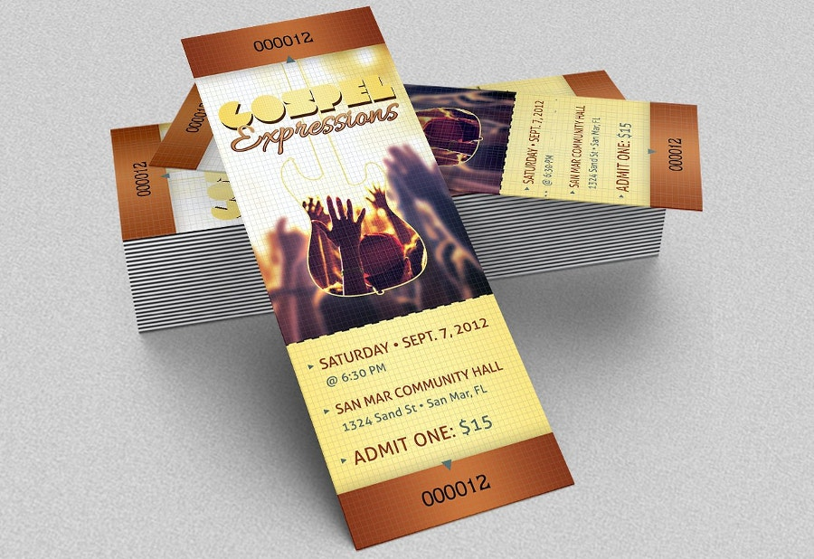 Convention Event Ticket Mockup Template