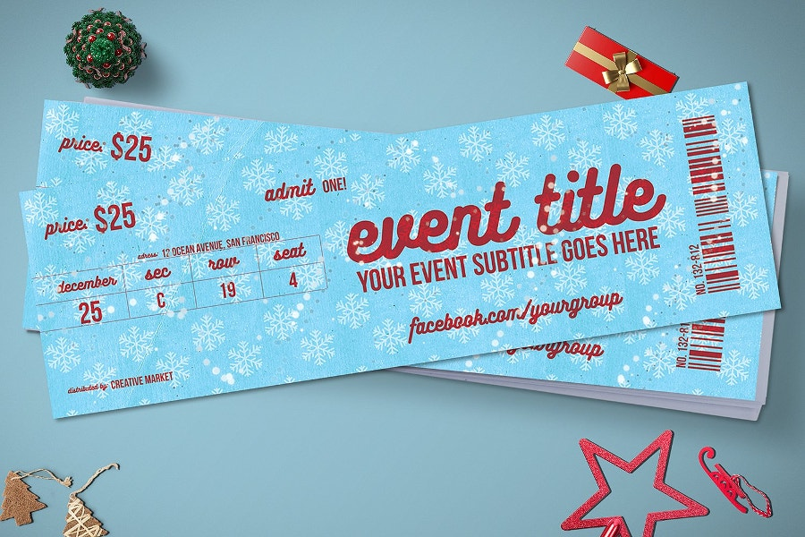 Christmas Event Tickets Mockup
