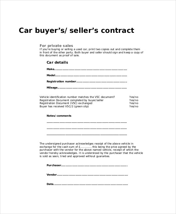 car buyer or seller contract