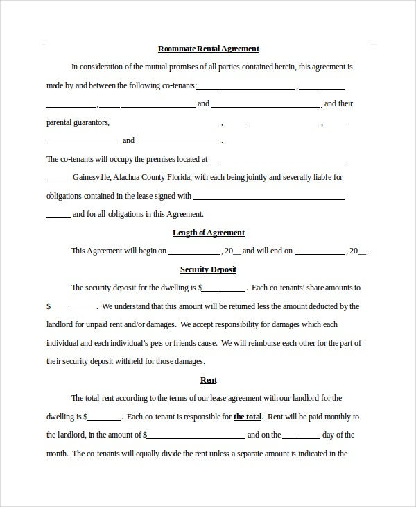 Roommate Rental Agreement Template Yeniscale