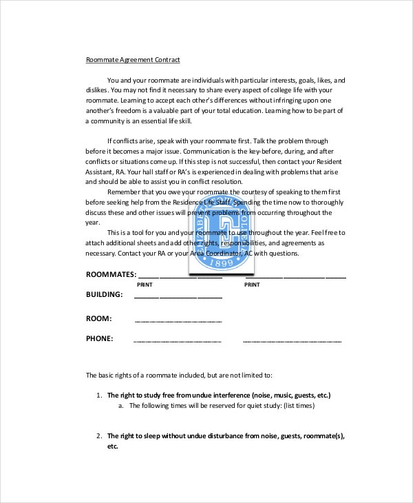 Roommate Agreement   Free Pdf Word Documents Download  Free