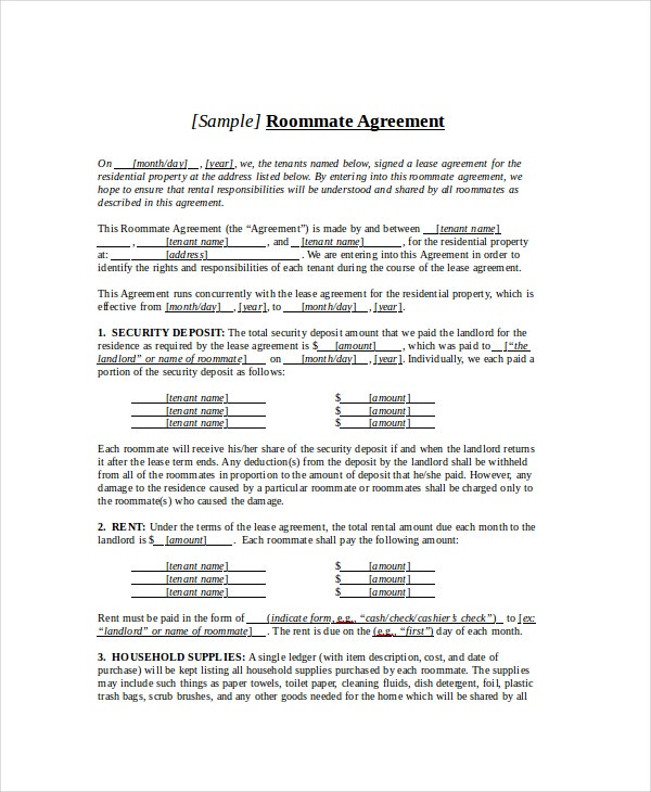 Roommate Agreement   Free  Word Documents Download  Free