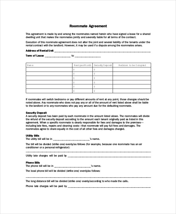 Roommate Agreement 12 Free PDF Word Documents Download – Roommate Lease Agreement