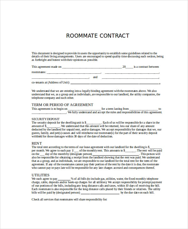 Roommate Agreement - 12+ Free Pdf, Word Documents Download | Free
