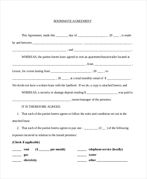 Roommate agreement 13 free pdf word documents download for Landlords contract template