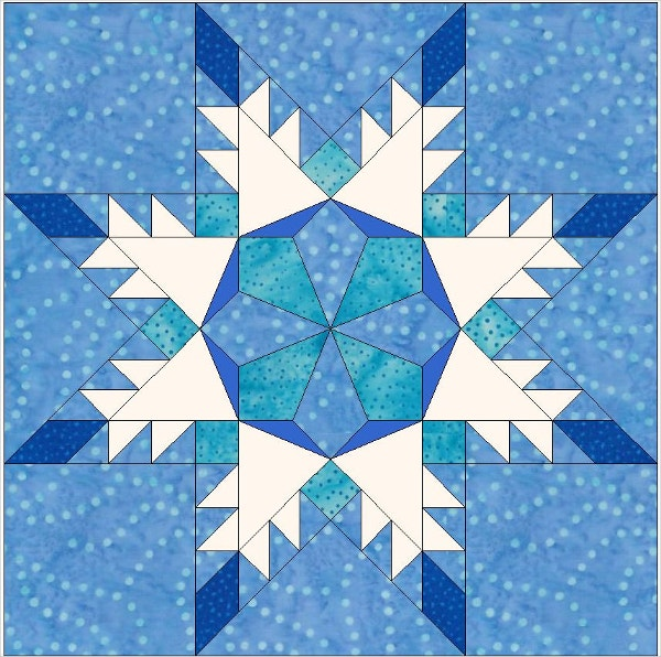 Star Snowflake Paper Piece Template