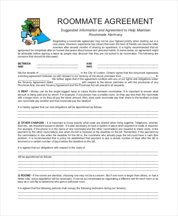 Roommate Agreement 12 Free Pdf Word Documents Download