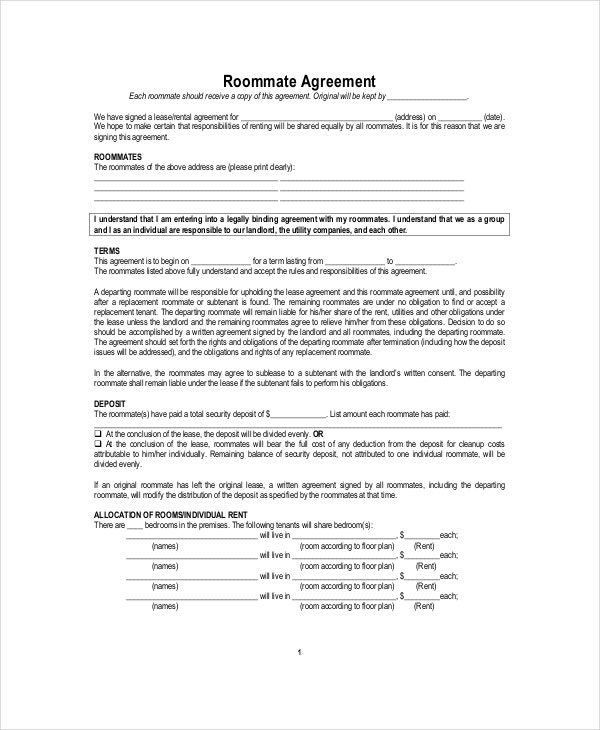 Roommate Service Agreement