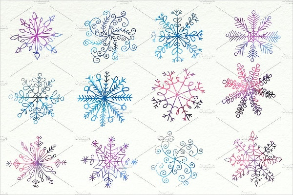 watercolor snowflake pattern