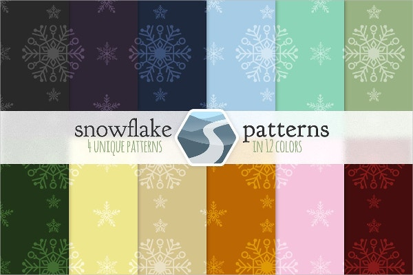 different color snowflake patterns