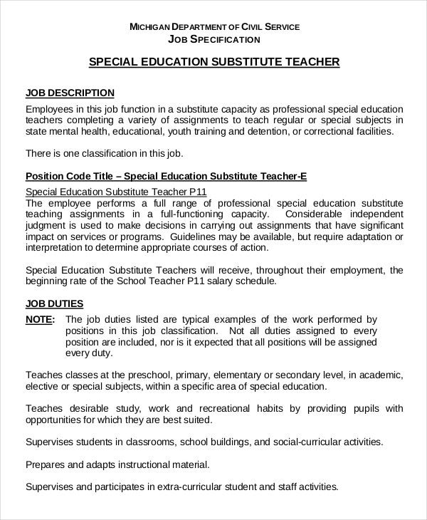 substitute teacher resume example 5 free word pdf documents .
