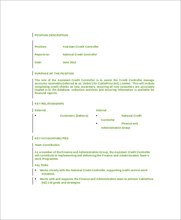 Controller Job Descriptions  Free Sample Example Format