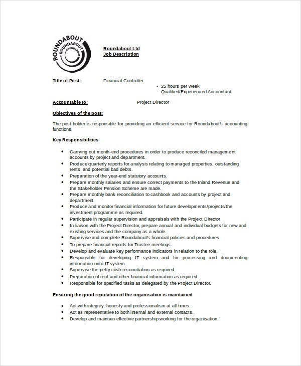 Controller Job Description Templates  Pdf Doc  Free  Premium
