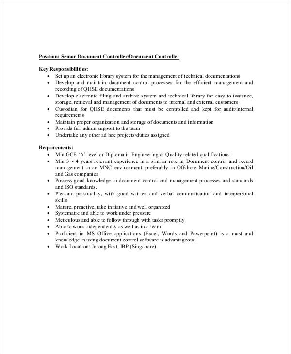 senior document controller job description