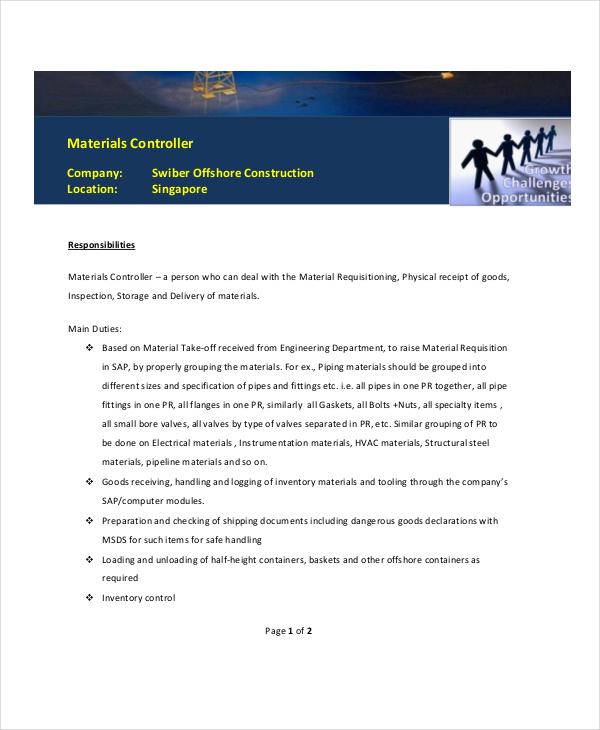 materials controller job description