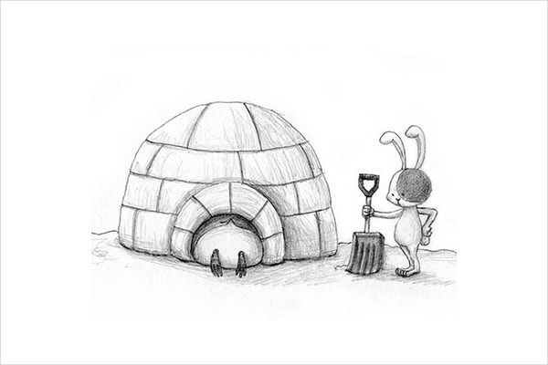 Beautiful Igloo Drawing