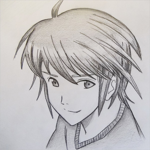 Manga Style Boy Drawing