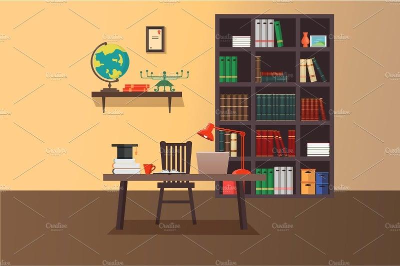 vintage home office workspace