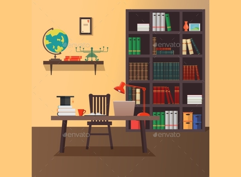 Modern Home Office Vector Illustration