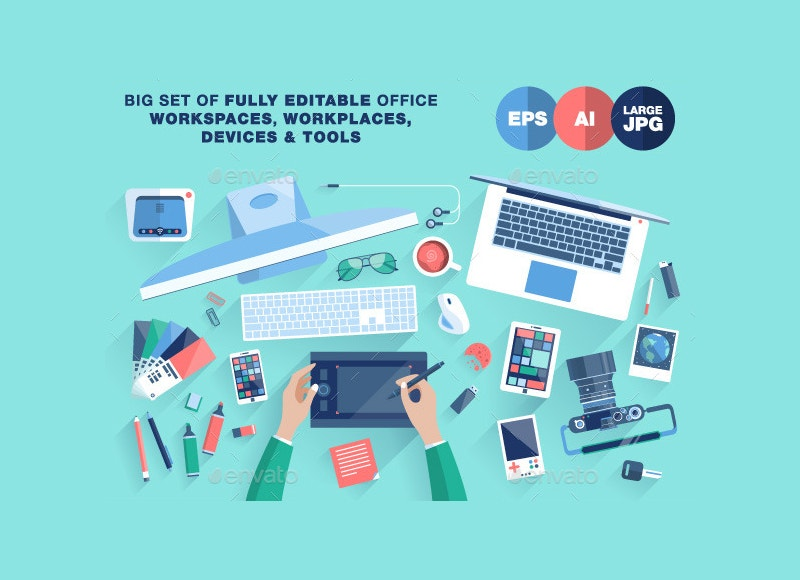Flat Design Creative Office Workspace