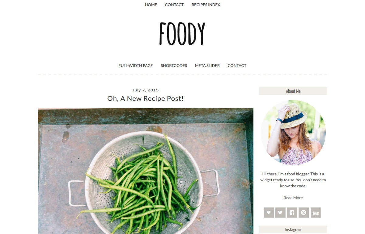 Amazing Blogger Food WordPress Theme