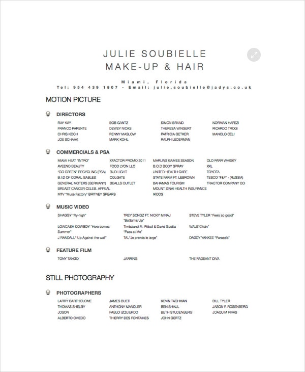 High Quality Makeup And Hair Stylist Resume Template  Hair Stylist Resume Template