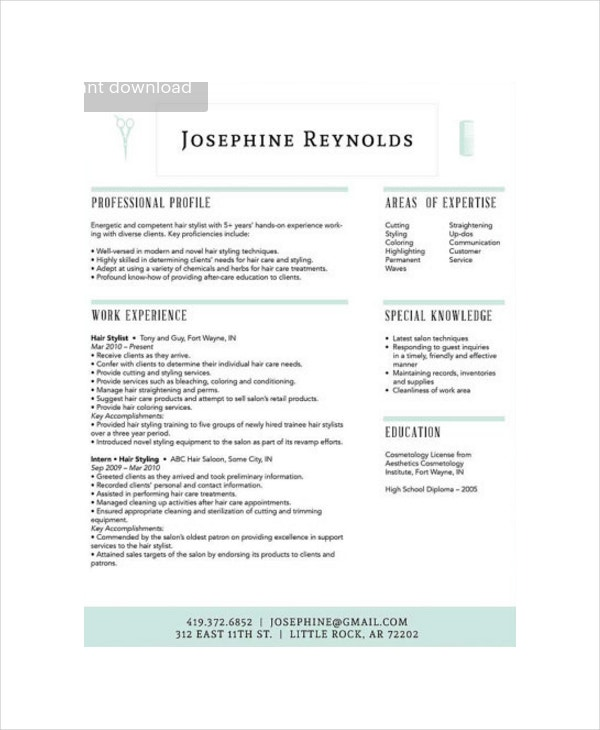 Professional Hair Stylist Resume  Hair Stylist Resume Examples