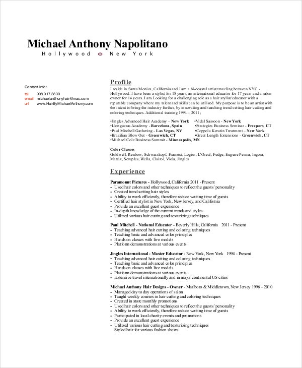 hair stylist resume example - 6+ free pdf, psd documents download ... - Resume Examples Pdf