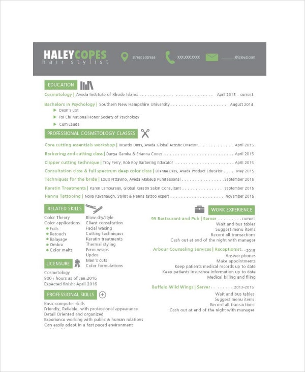hair stylist resume example 6 free pdf psd documents download
