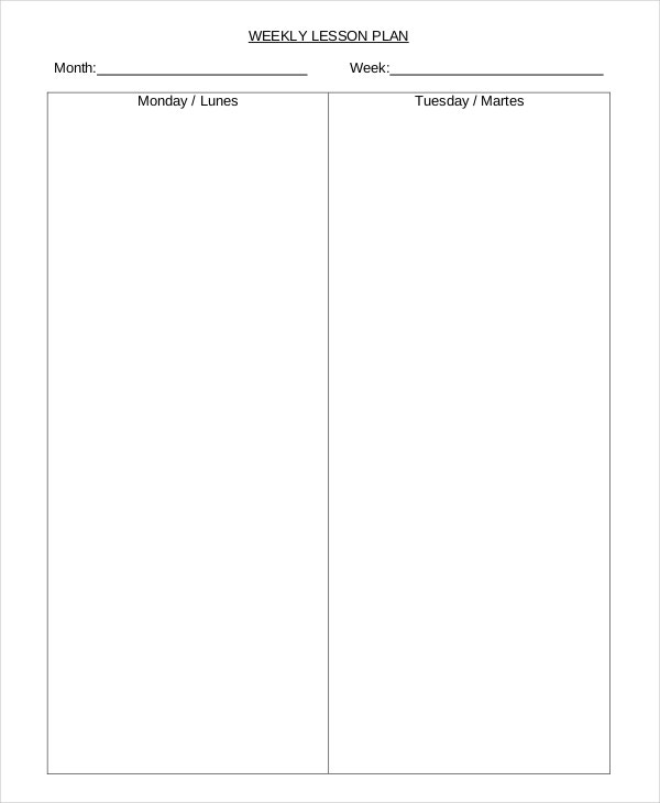 Lesson Plan Template Free Word PDF Documents Download - Monthly lesson plan template
