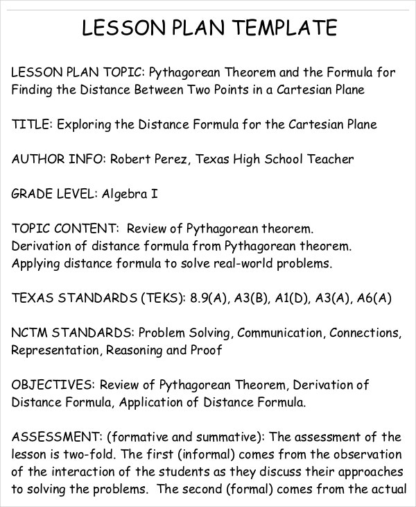 Lesson Plan Template   Free Word Pdf Documents Download  Free