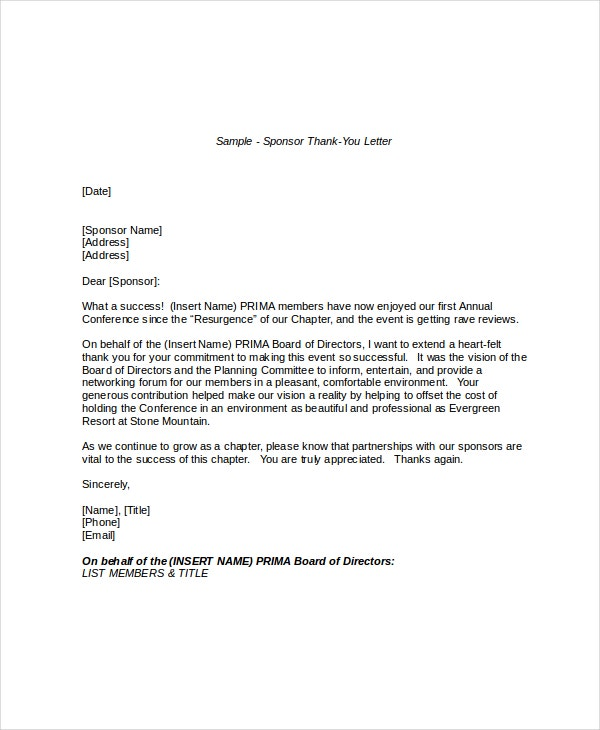 Thank You Letter To Sponsors  PetitComingoutpolyCo
