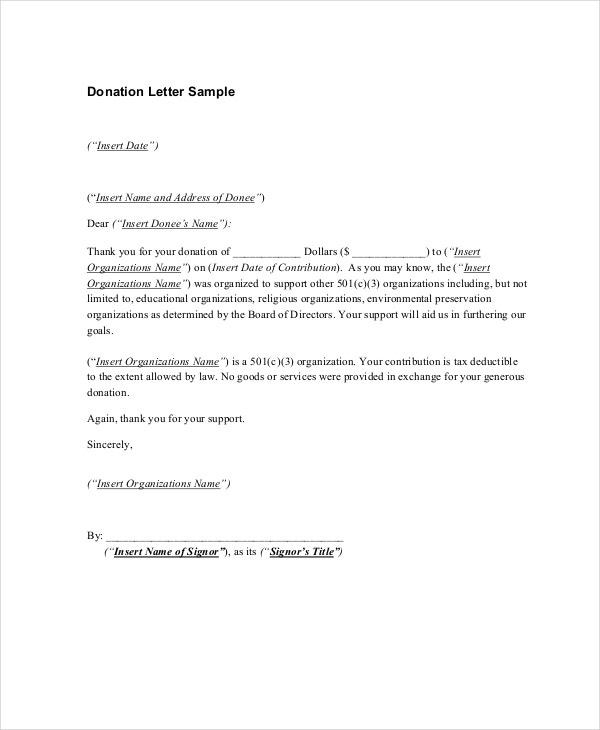 10 thank you letters for donation free sample example format
