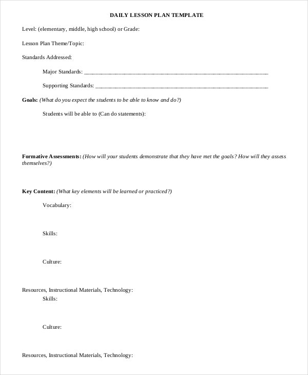 daily lesson plan template free download