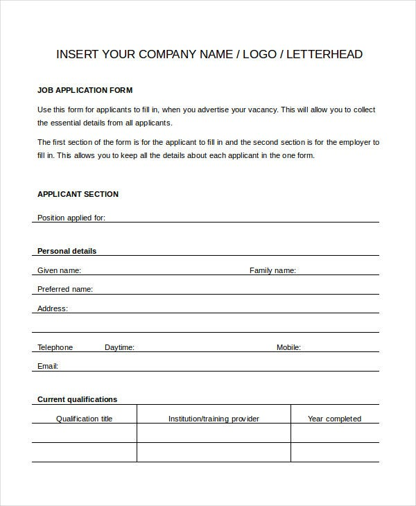 Generic Job Application   Free Word Pdf Documents Downlaod