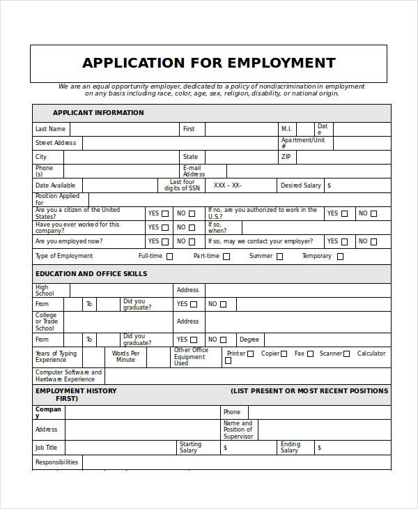 Generic Job Application 8 Free Word PDF Documents Downlaod – Printable Application for Mployment