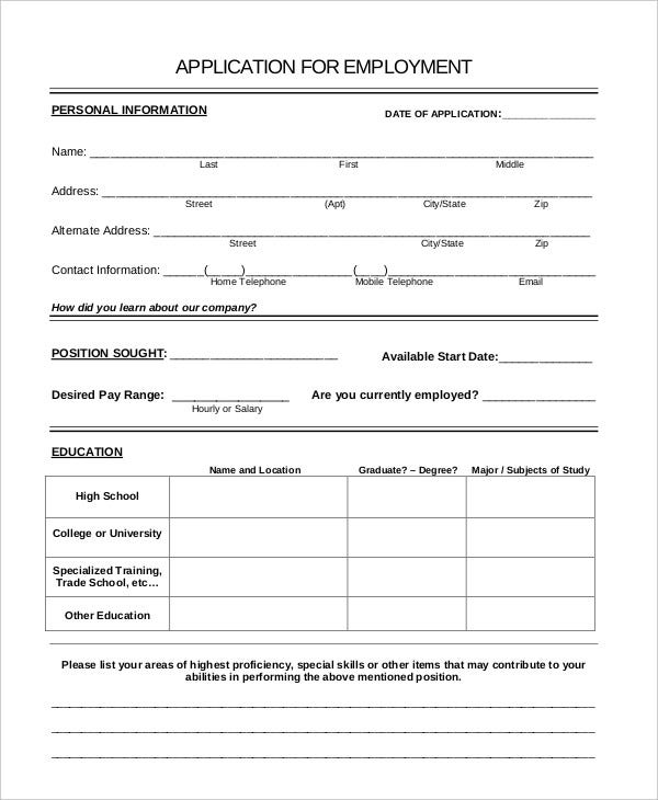 Application For Employment - Template