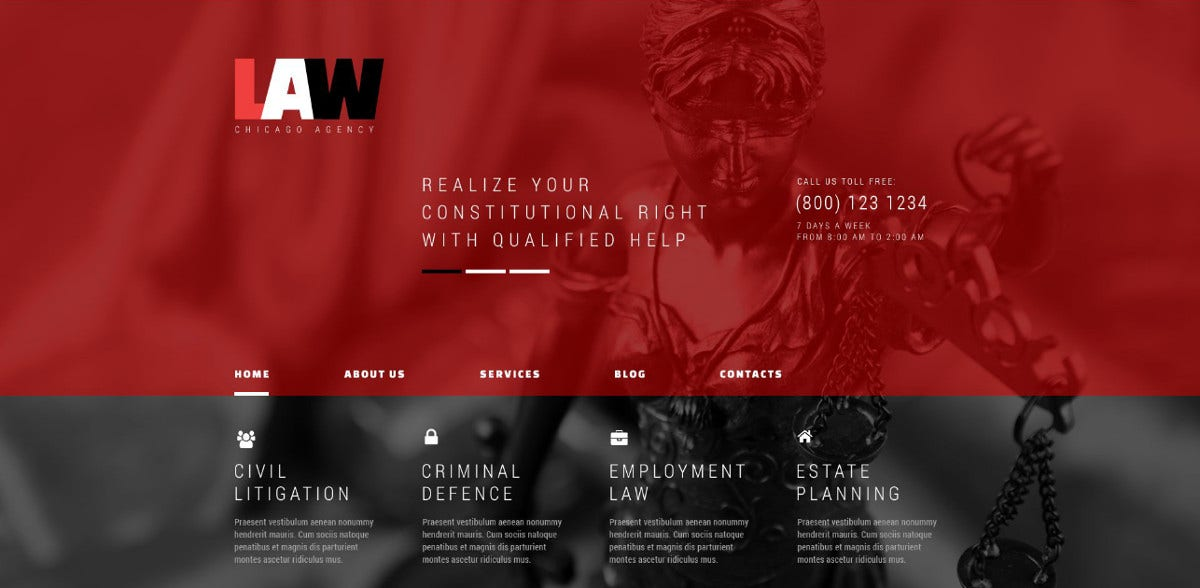 admin panel law firm wordpress theme