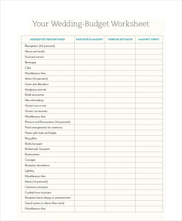wedding budget template free