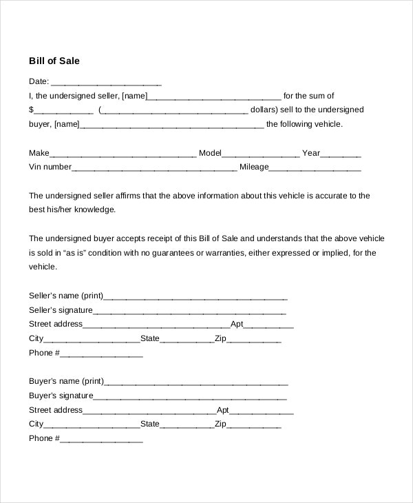 Generic Auto Bill Of Sale Form  General Bill Of Sale Form